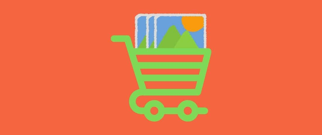 green shopping cart with images to optimize