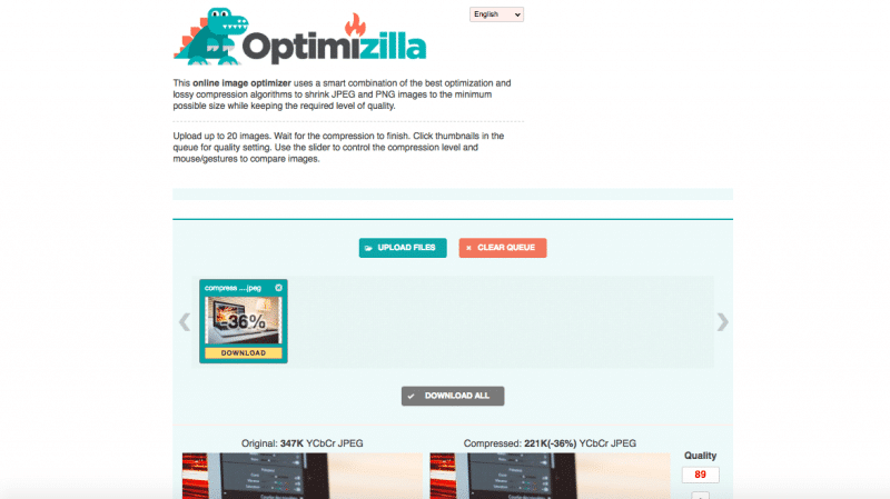 Optimizilla online image optimization