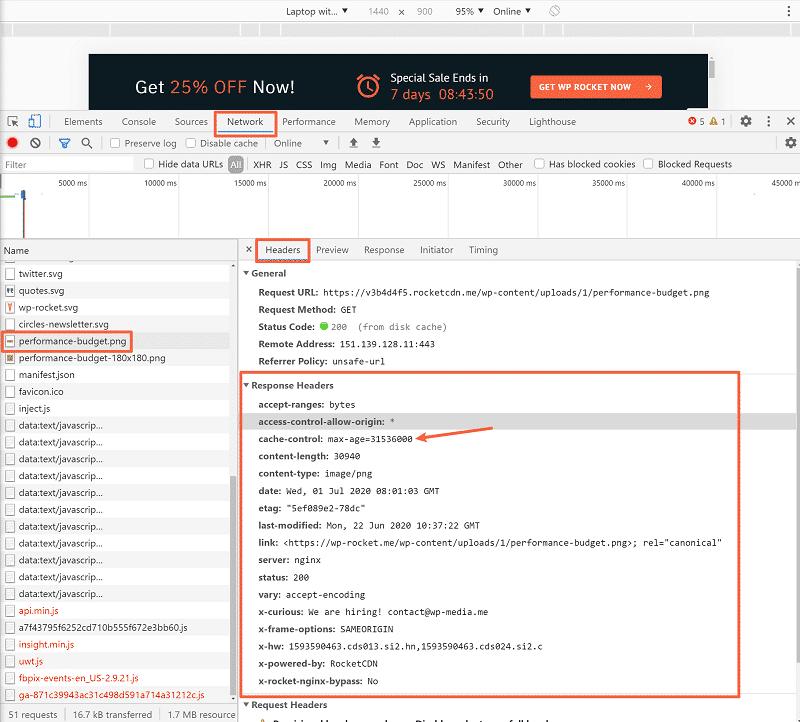 HTTP response headers in WP Rocket website