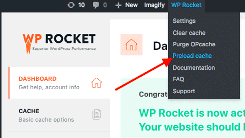 WP Rocket cache prealoading feature