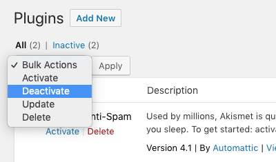 deactivate wordpress plugins