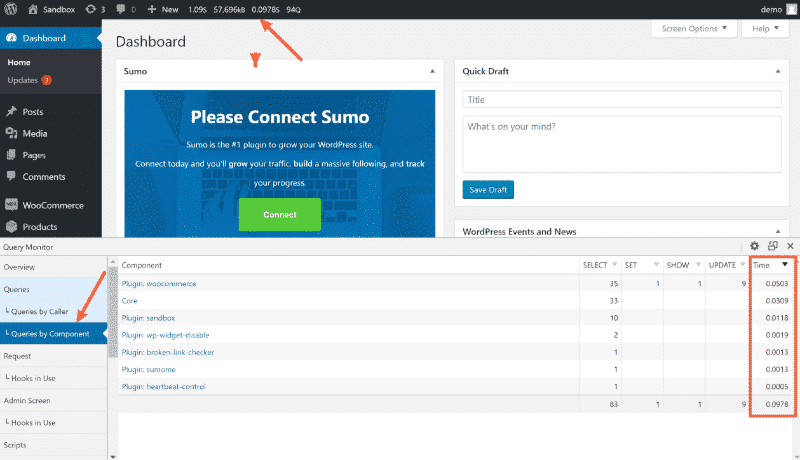 how to fix a slow wordpress admin query monitor