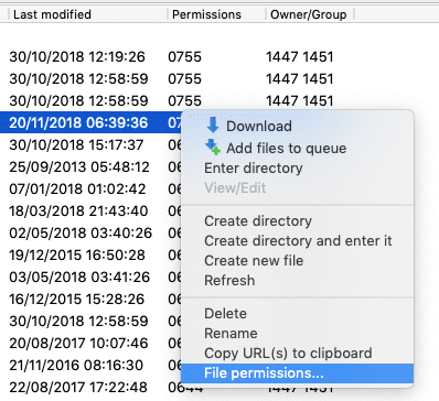 update file permissions from the FTP