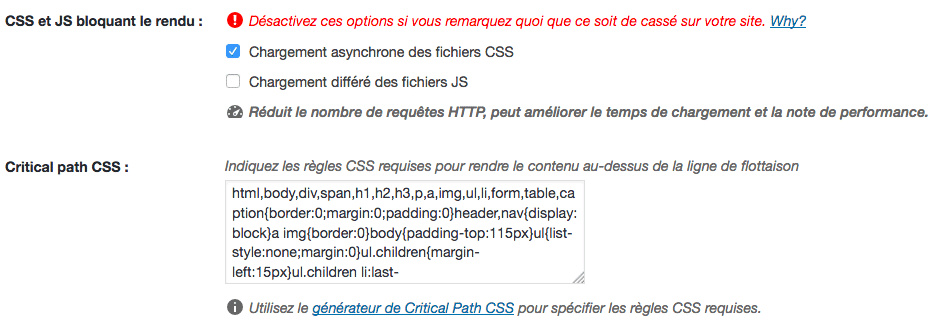 Nouvelle option WP Rocket pour le Render-Blocking