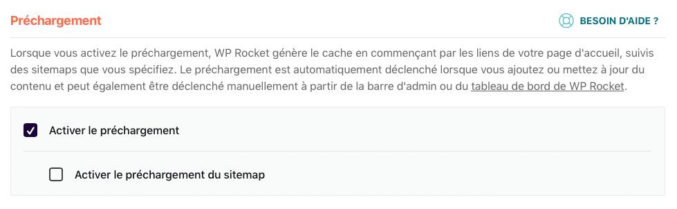 Activer le préchargement de WP Rocket