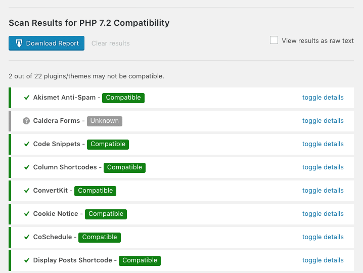 Scan results for PHP 7.2 compatibility