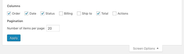 screen options WordPress dashboard