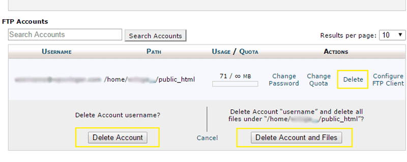 How to delete FTP account