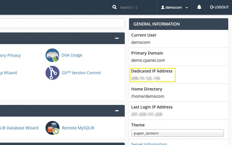 cPanel - General Information tab