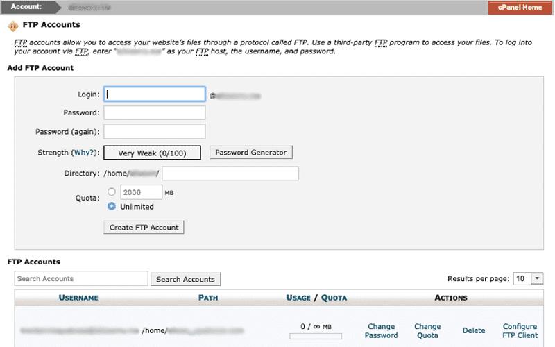 cPanel - FTP Accounts