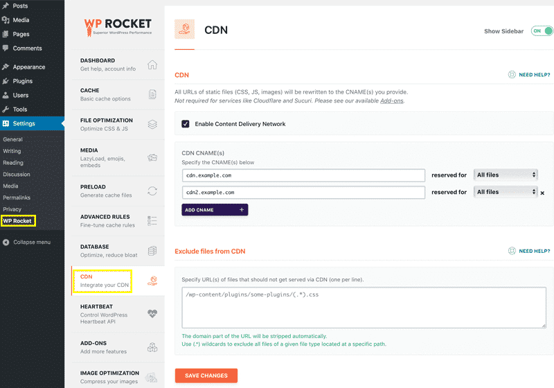 Using the CDN with WP Rocket