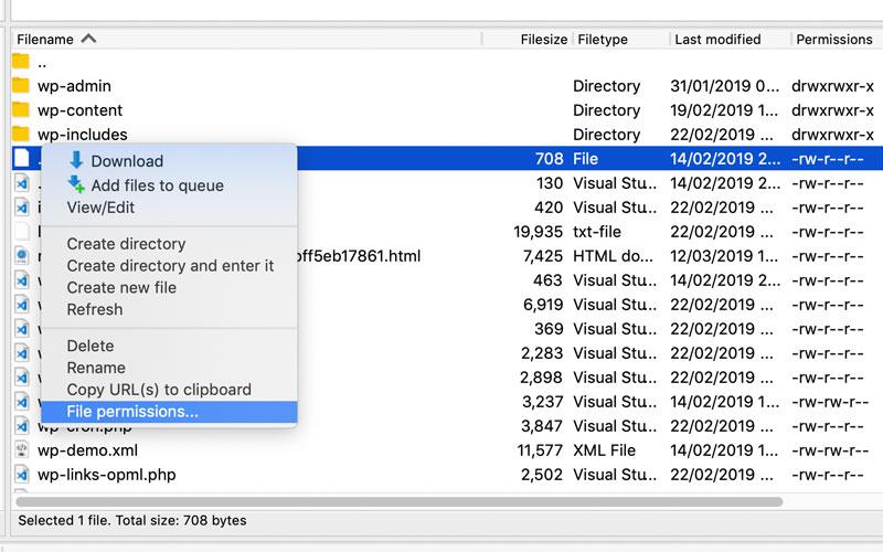 FileZilla file permission