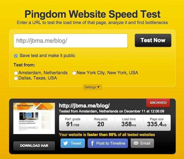 Pindgom website speed test