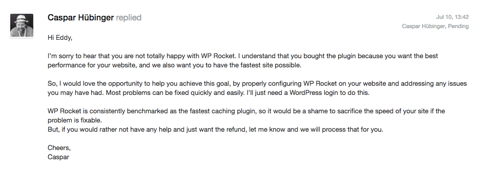 wp-rocket-refund-first-response